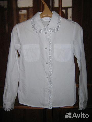 Белая хлопчатобумажная блузка на рост 122-128 89112370029 купить 1
