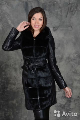 86b4990952f Женское зимнее кожаное пальто с нат. норкой 42-44 купить в Москве на ...