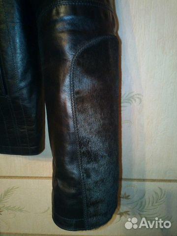 Куртка кожаная мужская отделка пони