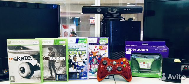 Xbox 360 E 250Gb+Kinect+линзы для камеры+жесткий д