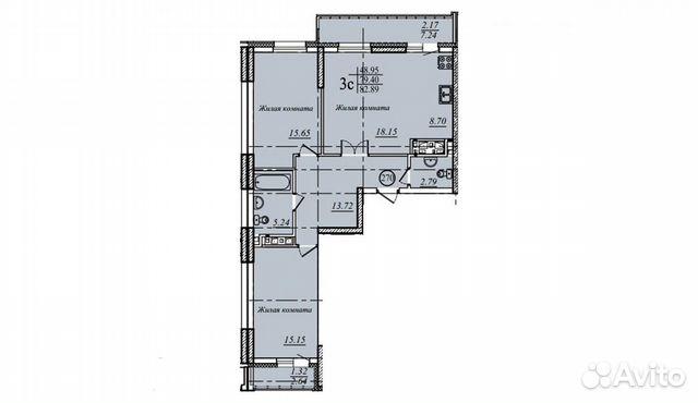 3-к квартира, 82.9 м², 19/19 эт. купить 2