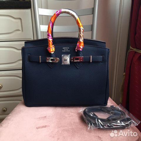 261e9db8adbb Новая кожаная сумка Hermes Birkin Lux синяя средня купить в Москве ...