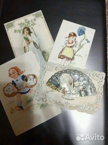Фарфоровые девочки с голубями и снегирями открытки начала 20го века