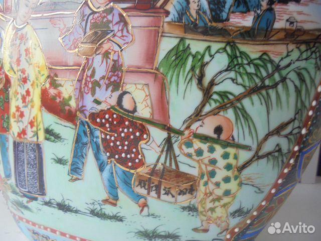 Ваза Китай костяной фарфор роспись позолота  89105009779 купить 5