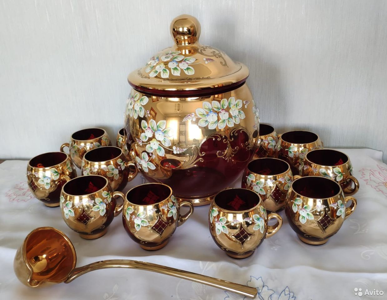 Крюшонница, 12 чашек, половник, лепка