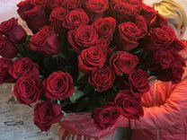 Розы 51 шт 70 см красная