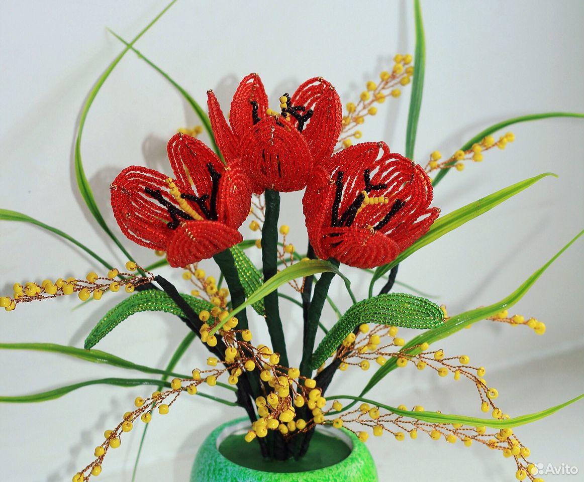 Цветы из бисера. Тюльпаны. Розы  89083089399 купить 2